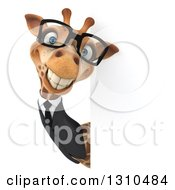 Clipart Of A 3d Bespectacled Business Giraffe Smiling Around A Sign Royalty Free Illustration