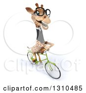 Clipart Of A 3d Aerial View Of A Bespectacled Business Giraffe Riding A Bike To The Right Royalty Free Illustration