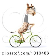 Clipart Of A 3d Bespectacled Business Giraffe To The Right Royalty Free Illustration