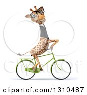 Clipart Of A 3d Bespectacled Business Giraffe To The Right 2 Royalty Free Illustration