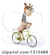 Clipart Of A 3d Bespectacled Business Giraffe To The Right 3 Royalty Free Illustration