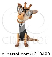 Clipart Of A 3d Bespectacled Business Giraffe Smiling Over A Sign Royalty Free Illustration