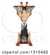 Clipart Of A 3d Bespectacled Business Giraffe Smiling Over A Sign 2 Royalty Free Illustration