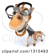Clipart Of A 3d Bespectacled Business Giraffe Smiling Upwards Royalty Free Illustration
