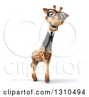 Clipart Of A 3d Bespectacled Business Giraffe Walking Slightly To The Right Royalty Free Illustration