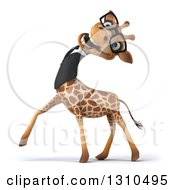 Clipart Of A 3d Bespectacled Business Giraffe Tilting His Head Back And Laughing Royalty Free Illustration