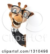 Clipart Of A 3d Bespectacled Business Giraffe Smiling Around A Sign 2 Royalty Free Illustration