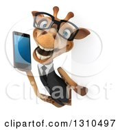 Clipart Of A 3d Bespectacled Business Giraffe Talking On A Smart Cell Phone Around A Sign Royalty Free Illustration