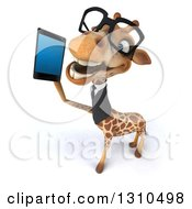 Clipart Of A 3d Bespectacled Business Giraffe Looking Up And Talking On A Smart Cell Phone Royalty Free Illustration