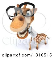 Clipart Of A 3d Bespectacled Doctor Or Veterinarian Giraffe Smiling Upwards Royalty Free Illustration