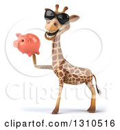 Clipart Of A 3d Giraffe Wearing Sunglasses Facing Left And Holding A Piggy Bank Royalty Free Illustration