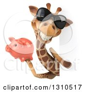 Clipart Of A 3d Giraffe Wearing Sunglasses And Holding A Piggy Bank Around A Sign Royalty Free Illustration