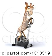 Clipart Of A 3d Giraffe Facing Left And Exercising On A Spin Bike Royalty Free Illustration