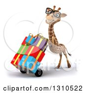 Clipart Of A 3d Bespectacled Giraffe Pushing Gifts On A Dolly Facing Slightly Left 2 Royalty Free Illustration