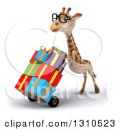 Clipart Of A 3d Bespectacled Giraffe Pushing Gifts On A Dolly Facing Slightly Left Royalty Free Illustration