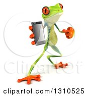 Clipart Of A 3d Argie Tree Frog Facing Slightly Right Holding And Pointing To A Smart Cell Phone Royalty Free Illustration