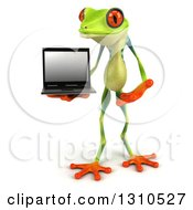 Clipart Of A 3d Argie Frog Holding And Presenting A Laptop Computer Royalty Free Illustration