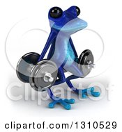 Clipart Of A 3d Blue Springer Frog Facing Slightly Right And Doing Squats With Dumbbells Royalty Free Illustration by Julos
