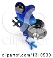 Clipart Of A 3d Blue Springer Frog Facing Right Looking Up And Doing Bicep Curls With Dumbbells Royalty Free Illustration by Julos