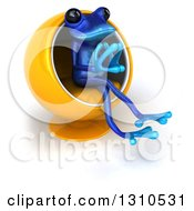 Clipart Of A 3d Blue Springer Frog Facing Slightly Right Thinking And Sitting In A Cocoon Chair Royalty Free Illustration