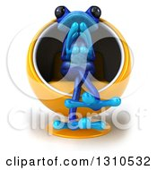 Clipart Of A 3d Blue Springer Frog Thinking And Sitting In A Cocoon Chair Royalty Free Illustration