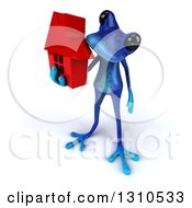 Clipart Of A 3d Blue Springer Frog Facing Left And Holding A Red House Royalty Free Illustration by Julos