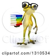 Clipart Of A 3d Bespectacled Light Green Springer Frog Holding A Stack Of Books And Walking Royalty Free Illustration by Julos