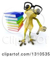 Clipart Of A 3d Bespectacled Light Green Springer Frog Holding Up A Stack Of Books And Thumb Down Royalty Free Illustration by Julos