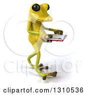 Clipart Of A 3d Light Green Springer Frog Walking Slightly To The Right And Reading A Book Royalty Free Illustration by Julos