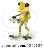 Clipart Of A 3d Light Green Springer Frog Walking Slightly To The Left And Reading A Book Royalty Free Illustration by Julos