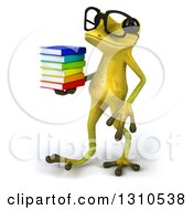 Clipart Of A 3d Bespectacled Light Green Springer Frog Holding A Stack Of Books And Walking To The Left Royalty Free Illustration by Julos