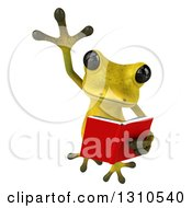 Clipart Of A 3d Light Green Springer Frog Leaping And Reading A Book Royalty Free Illustration by Julos