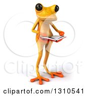 Clipart Of A 3d Yellow Springer Frog Facing Slightly Right And Reading A Book Royalty Free Illustration