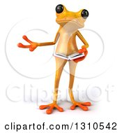 Clipart Of A 3d Yellow Springer Frog Presenting And Reading A Book Royalty Free Illustration