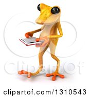 Clipart Of A 3d Yellow Springer Frog Walking To The Left And Reading A Book Royalty Free Illustration