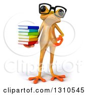 Clipart Of A 3d Bespectacled Yellow Springer Frog Holding And Presenting A Stack Of Books Royalty Free Illustration
