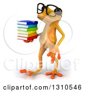 Clipart Of A 3d Bespectacled Yellow Springer Frog Walking To The Left With A Stack Of Books Royalty Free Illustration