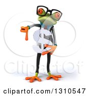 Clipart Of A 3d Bespectacled Green Doctor Springer Frog Holding A Dollar Symbol And Thumb Down Royalty Free Illustration