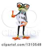 Clipart Of A 3d Bespectacled Green Doctor Springer Frog Holding A Dollar Symbol And Thumb Up Royalty Free Illustration