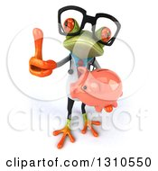 Clipart Of A 3d Bespectacled Green Doctor Springer Frog Holding Up A Thumb And A Piggy Bank Royalty Free Illustration