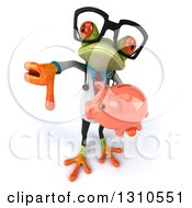 Clipart Of A 3d Bespectacled Green Doctor Springer Frog Holding Up A Thumb Down And A Piggy Bank Royalty Free Illustration
