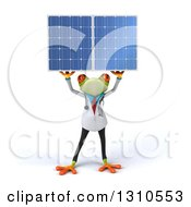 Clipart Of A 3d Green Doctor Springer Frog Holding Up A Solar Panel Royalty Free Illustration by Julos
