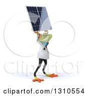 Clipart Of A 3d Green Doctor Springer Frog Facing Slightly Right And Holding Up A Solar Panel Royalty Free Illustration by Julos