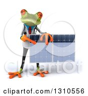 Clipart Of A 3d Green Doctor Springer Frog Holding And Pointing To A Solar Panel Royalty Free Illustration by Julos