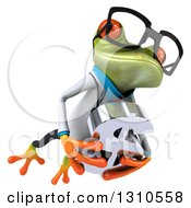 Clipart Of A 3d Bespectacled Green Doctor Springer Frog Holding A Dollar Symbol And Leaping To The Right Royalty Free Illustration
