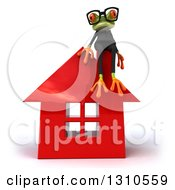 Clipart Of A 3d Bespectacled Green Business Springer Frog Sitting On A Red House Royalty Free Illustration