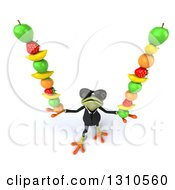 Clipart Of A 3d Green Business Springer Frog Wearing Sunglasses Looking Up And Balancing Fruit Royalty Free Illustration