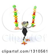 Clipart Of A 3d Green Business Springer Frog Wearing Sunglasses Facing Slightly Right And Balancing Fruit Royalty Free Illustration