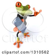 Clipart Of A 3d Green Business Springer Frog Facing Slightly Right Gesturing Call Me And Holding A Cell Phone Royalty Free Illustration