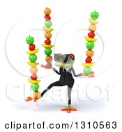 Clipart Of A 3d Green Business Springer Frog Wearing Sunglasses Facing Slightly Left And Balancing Fruit Royalty Free Illustration